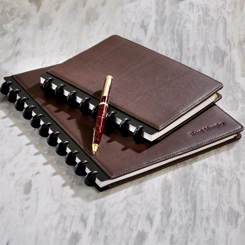 Circa® Luxe Leather Foldover Notebook in Chocolate, shown with Hyde Park Croco Embossed Pen