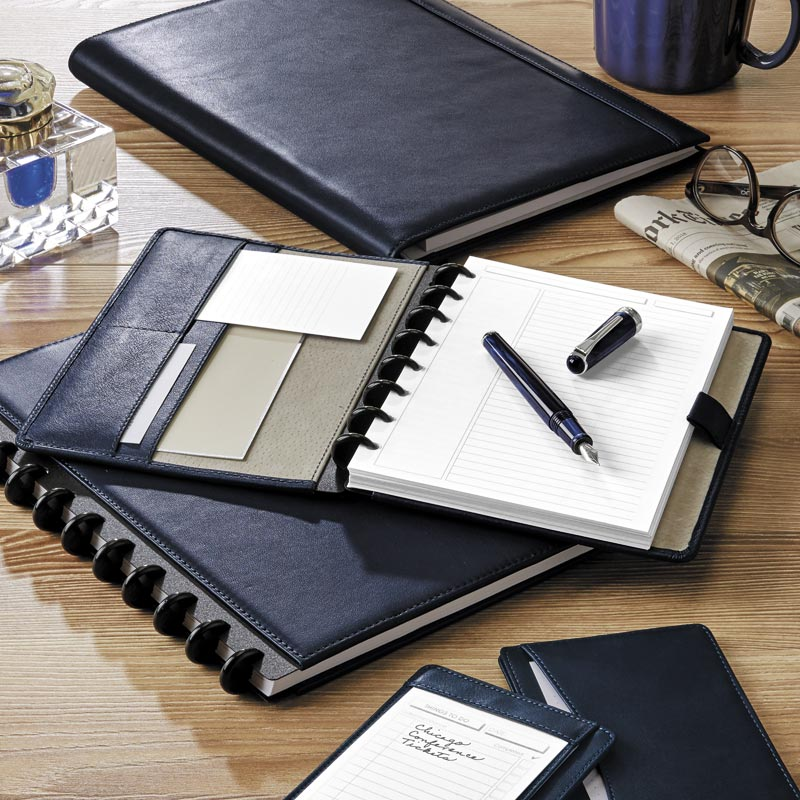 Circa® Luxe Midnight Leather Foldover Notebook
