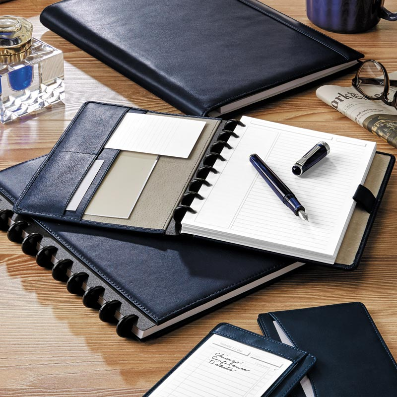 Circa® Luxe Leather Foldover Notebook in Midnight Blue, Letter