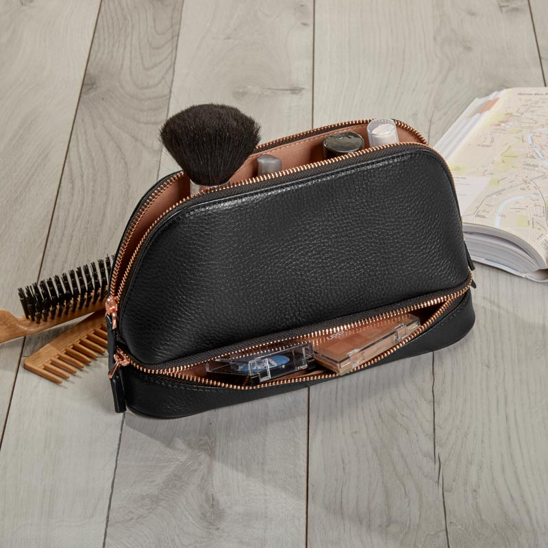 Duo Travel Pouch, Black/Rose Gold