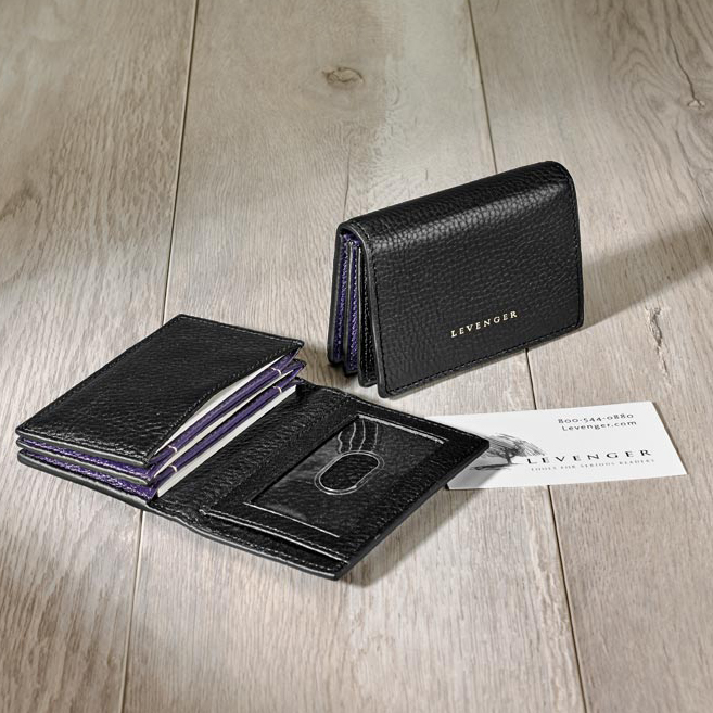 Blair Card Wallet - Black with Grape Side Panels