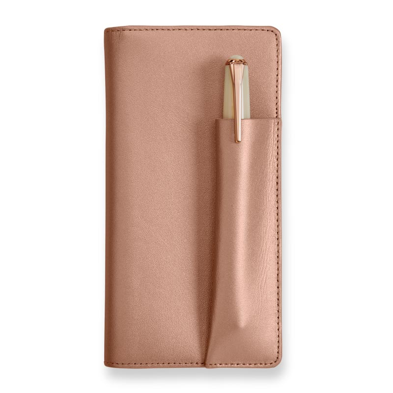 Rose Gold Checkbook Cover with pen sleeve