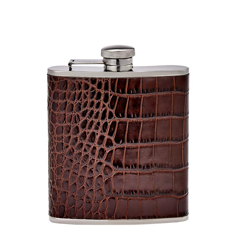Croc Embossed Leather Flask