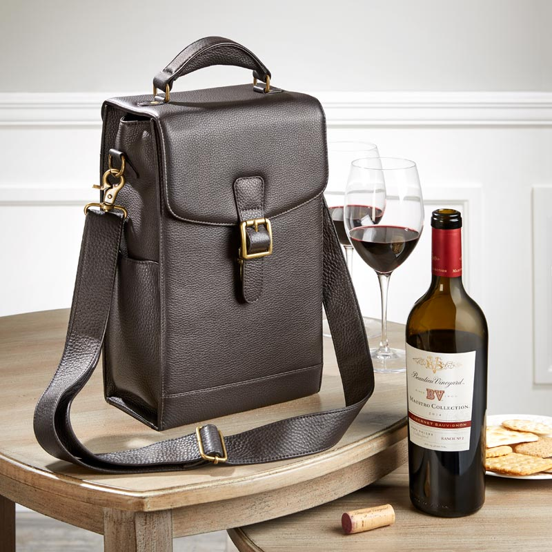 Bomber Jacket Leather Wine Tote - Mocha