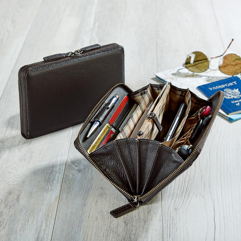 Bomber Jacket RFID Zip Travel Wallet