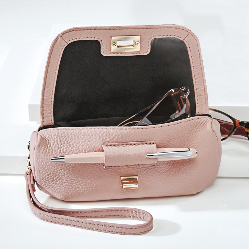 Double Optic Leather Wristlet