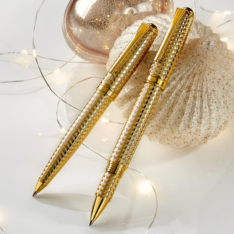 True Writer® Create Herringbone Rollerball - Gold