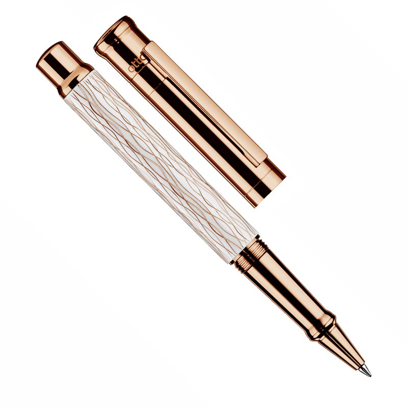Otto Hutt D04 Rose Wave Rollerball - White