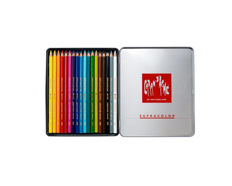 Caran D'Ache 18-piece Supracolor Soft Pencil Set with Metal Box