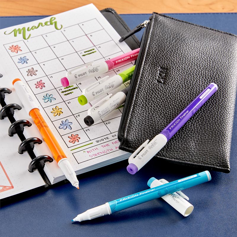 Pilot FriXion Fineliner with Leather Pouch (Set of 6)
