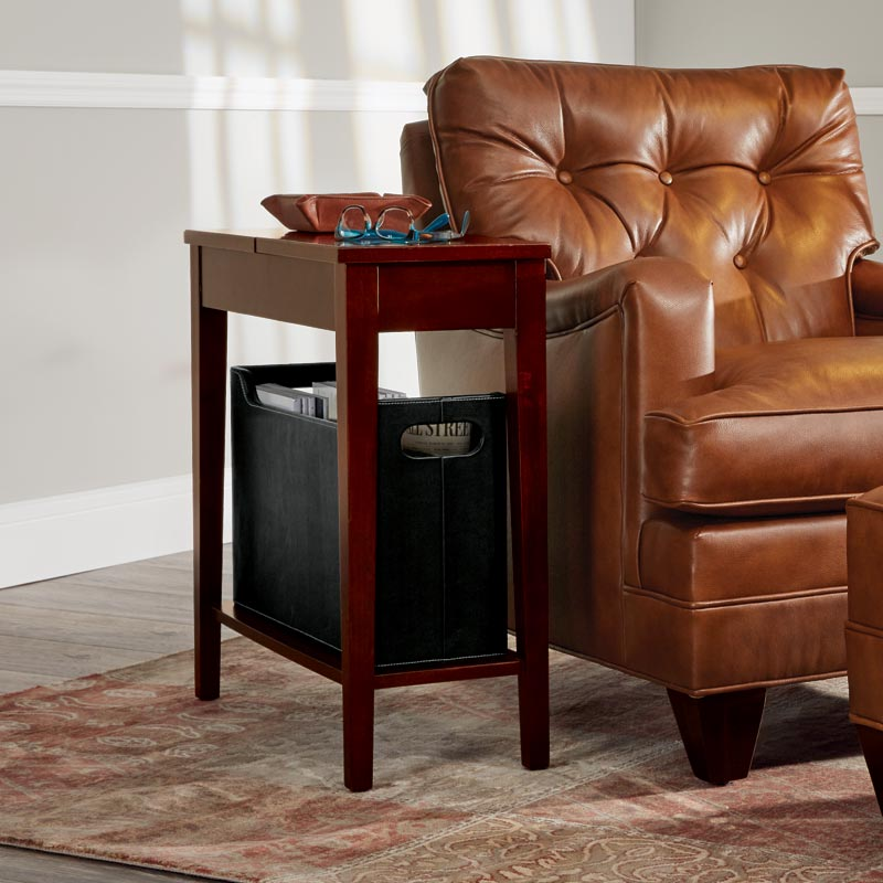 No-Room-for-a-Table™ Table with Basket Dark Cherry