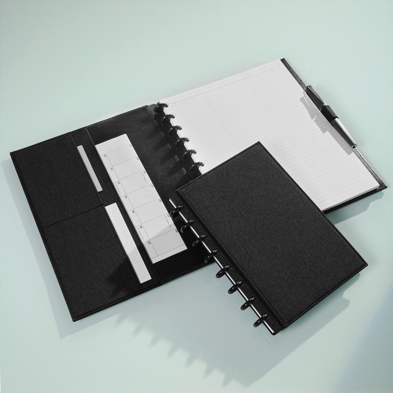 Circa Bookcloth Foldover Notebook, Black