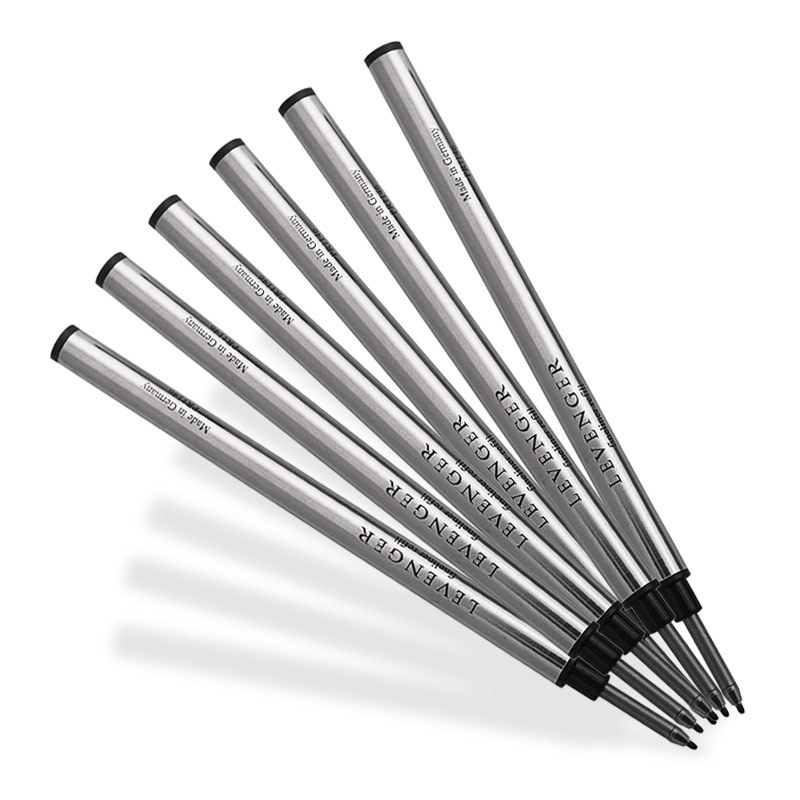 6 Levenger Fiber Tip Refills-Medium, Black
