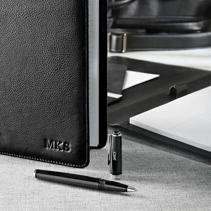 Stealth Circa Leather Foldover Notebook - Black