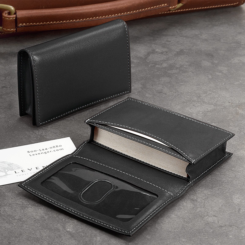 card wallet black - Leather Business Card Holder